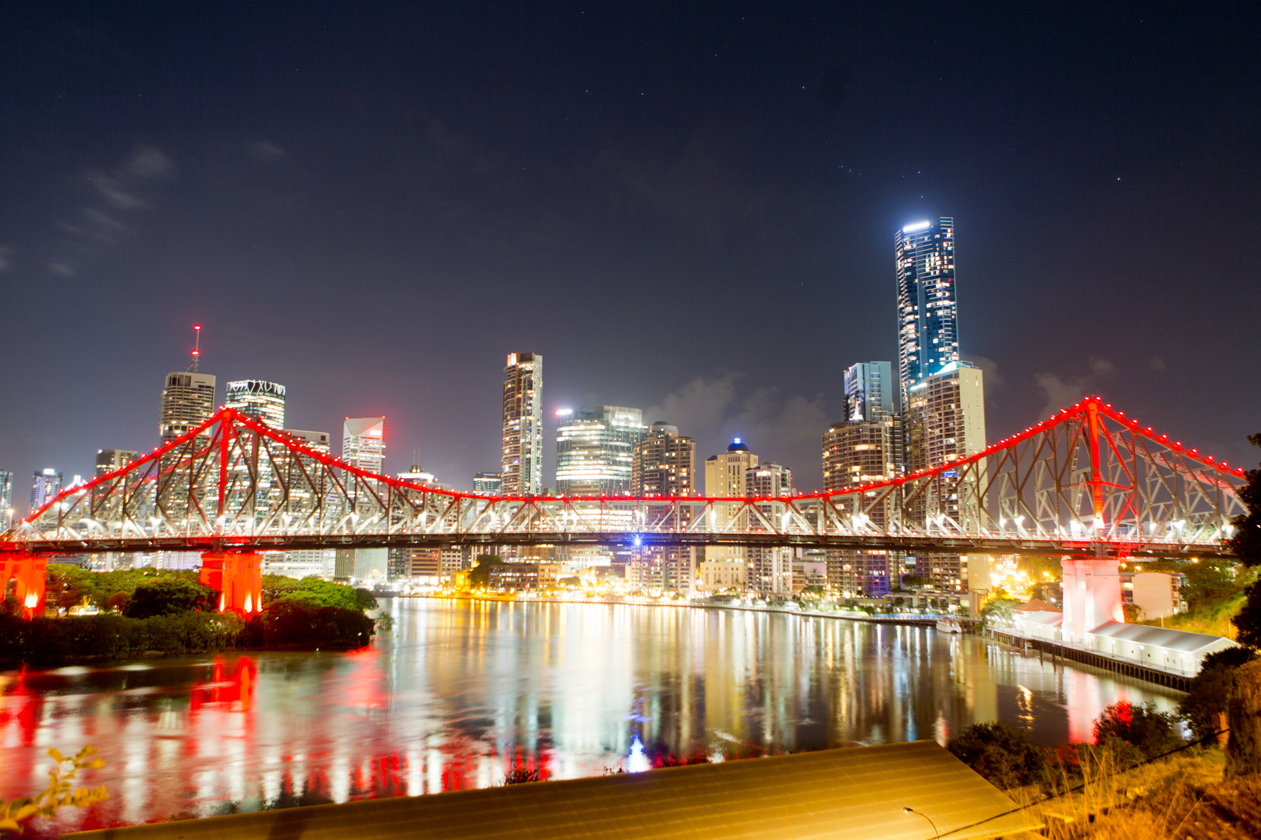 Brisbane's Story Bridge in lights