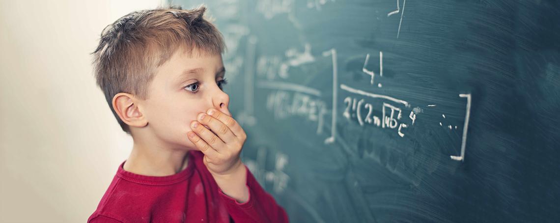 Boy and blackboard
